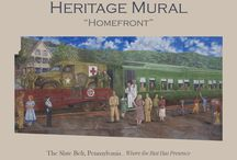 """Heritage Mural using breathable Silicate Paints / Heritage Mural """"Homefront"""" News - Using Mineral Paints from LimeWorks.us The beautiful 34' x 17' mural is painted on the side of the Pies to Die for Café."""