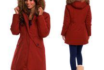 Dames Bordeaux Rood Winterjas met Grote Bont
