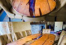 Móveis de madeira e acessórios  com resina