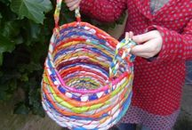 Weaving plastic bags into baskets.