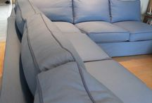 Carolyn's Sectional Sofa Slipcover / This custom made canvas slipcover in beautiful blue gave this 10+ year old sectional a big beauty boost.
