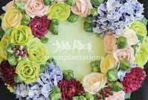 Korean Buttercream Floral Cakes / Buttercream flower cakes