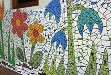 my handmade large scale mosaics / mosaics I made for both exteriors and interiors of different places