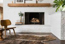 white fireplaces.