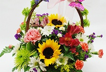 kosze z kwiatami
