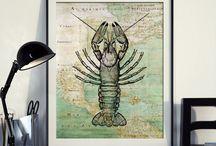Seaside Poster Vintage map