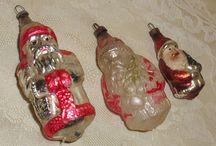 3 VERY OLD MERCURY GLASS SANTA ORNAMENTS-GREAT FOR ANY TREE!!