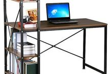 Brown Computer Desk 4Tier Shelving Home Office Study Workstation PC Corner Table