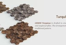 Gemss Turquiose / Gemss Turquiose is drafted to create harmony between elevated & angled profiles. The arrangement gives a contemporary feel to a traditional pattern.