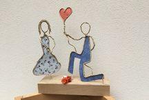 Wire, paper, ceramic sculpture ...