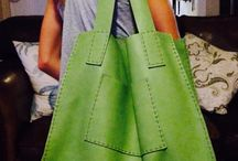 Hand Sewn Leather Shopping Tote / Stunning Hand laced raw leather shopping Tote bag with front pocket detail