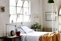 Spaces: Interior / Industrial, rustic, minimal interior spaces. Wood, old brick, white.