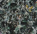 Y08 Movement - Jackson Pollock / Select one of the images and copy a portion of it. Use any materials. Write the artist's name and the title of the piece and then describe the picture using your vocabulary sheet.