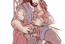 Thorin and young Kili and Fili