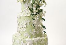 White with Green and Silver Cakes