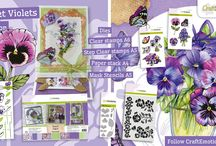 CraftEmotions - Sweet Violets / A collection matching products for cardmaking, mixed media and more. Available products (Nov 2016): decorated paperstack (3D) A4 size (cutting sheets and background sheets), clearstamps, step by step stamps, mask, dies set.