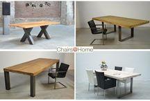 Industriële Tafels / Stoere eetkamer / vergadertafels voorzien van een Oud Gerecycled Teak of Eiken blad. Stel zelf uw eigen stoere tafel samen bij Chairs@Home