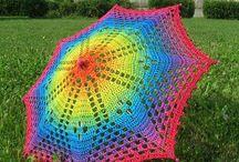 Háčkované deštníky,vějíře