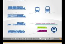 Logistics, SCM and Production Graphics / Logistics and Supply Chain icons: Transport, Supply Chain, Location, Housing PowerPoint icons and diagram visuals. Charts and diagrams usage examples.