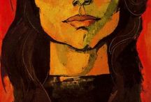 """Oswaldo Guayasamin / (1919 – 1999) was an Ecuadorian master painter and sculptor of Quechua and Mestizo heritage. In 1988, he painted a very controversial mural depicting the history of Ecuador. The Congress of Ecuador asked him to do so. However, the United States Government criticized him because the one of the paintings showed a man in a Nazi helmet with the lettering """"CIA"""" on it."""