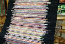 Super rag rug / Black border colour stripes