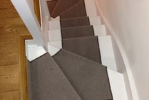 Grey Stair Runner With Black Border / Client: Private Residence In West London Brief: To supply and install a grey stair carpet runner.
