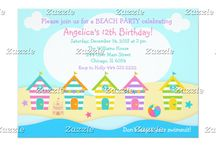 Cute Summer Beach Huts Birthday Party / This design features some cute nautical summer beach houses huts in pink, turquoise blue, orange, yellow, green and purple. There is a sandcastle, starfish and beach ball. Perfect for a beach party!