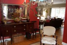Mixing Heirlooms w/Latest Colors / This heirloom server looks right at home with the rich red walls.