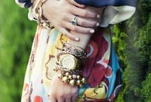 THIS NOW | stacked jewelry / Bracelets, layered necklaces and stacks of rings. This is one of my favorite ways to style jewelry! / by Rachel Hollis