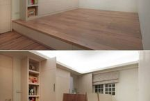 *home - attic / Guest bedroom IDEA folding bed, two of our current side tables, set od drawers, plants, current poang chair, hangers on the beams,