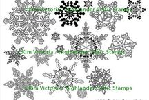 Card Ideas Celtic Snowflake Rubber Stamps / Ideas using Highlander Celtic Stamps/Kim Victoria Snowflake designs