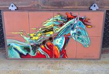 Carly Quinn Fine Art Tile Murals / One of a kind fine art hand glazed tile murals.