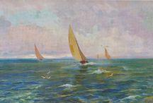 Barcos de vela y vapor. / Eliseo Meifrén Roig. Pinturas al óleo de veleros y barcos de vapor.
