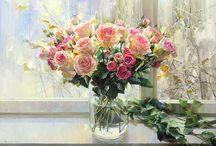 Розы в живописи / Roses painting / Живопись - Розы