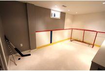 Playroom hockey rink!!