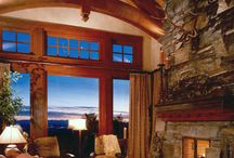Drapery in log home