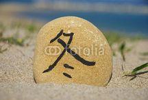 JAPANESE SEASONS OF THE YEAR / Japan seasons of the year on stones