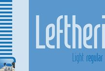 Leftheria / Leftheria structure is designed from the Greek order Ionic columns and their capitals, is a condensed typography with vertical emphasis.