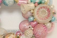 A Pastel Christmas / Putz houses, pastel vintage Christmas ornaments and displays