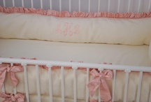 Monogrammed bedding in the nursery / The baby's name or initials monogrammed on items in the nursery