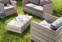 Outdoor furniture & things to make it look good / Outdoor furniture as well as other things you can add to make it look better.