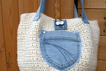 Crochetted bag with recycled jeans