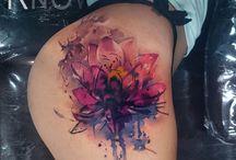 Watercolor Lotus Flower tattoos