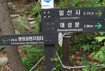 Bring It On Trail Run Road Sign / 대성문과 청담샘 방향으로의 갈림길  (A split roads to Daeseongmum(Castle gate) and Cheongdamsaem) GPS: 37.626194  126.978111 고도(Altitude): 453m
