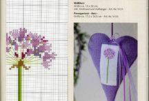 вышивка цветы фиолетовые
