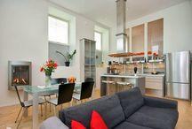 cocina, comedor y sala integrados