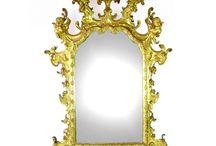 MIRRORS / Specchi - Specchiere - Miroirs - Glass - Wood - Vetro - Bois - Bois doré - Legno dorato - intaglio - Miroir Biedermeier - Giltwood
