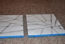 taped board painting