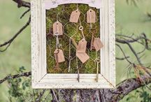 Wedding Theme: woodland wonderland / Green and brown, touches of white. Moss, wood, branches.  Botanical details like seeds and pods. Birch containers and organic designs.