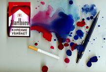 My arts / #art #scaner #marlboro #keys #bullet #watercolor